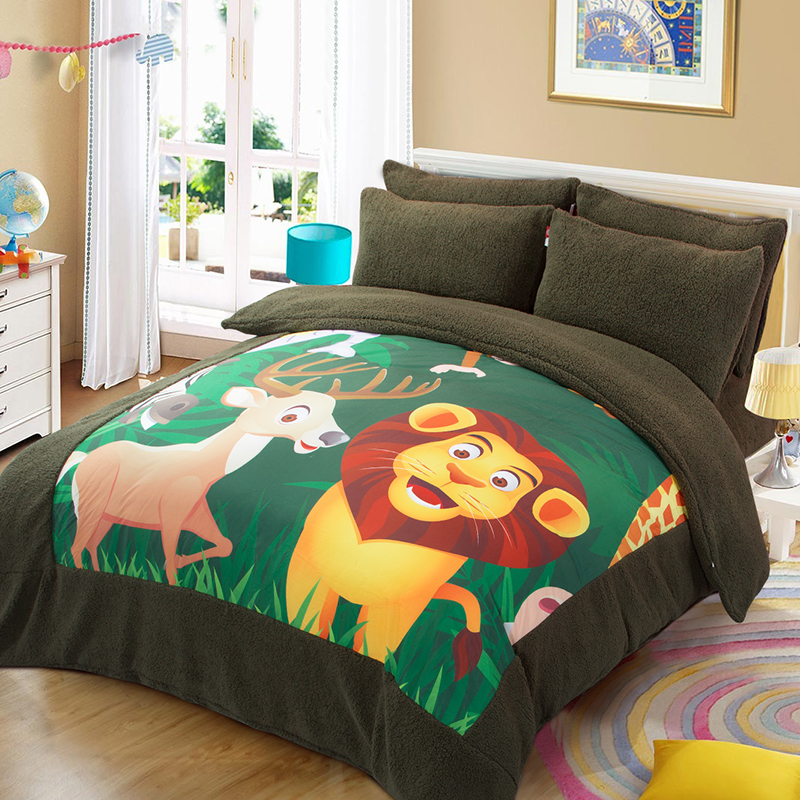 Korean version of the m bed children's cartoon bedding a family of four sanding sheets quilt bedding three sets of thick paul warm
