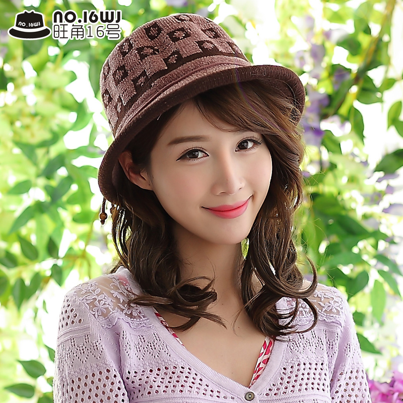 Korean version of the middle-aged fashion ms. windproof hat bucket hats fashion hats wool hat knitted hat spring hat mom youth