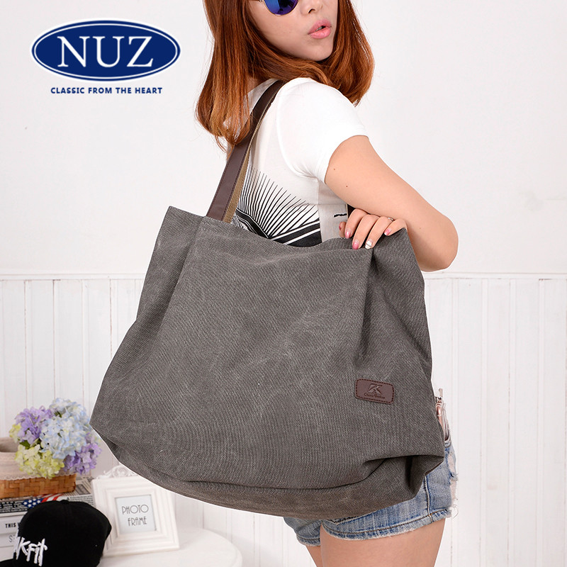 Korean version of the new bags NUZ2016 minimalist shoulder bag big bag women wild solid color canvas bag tide 8662