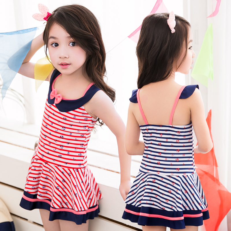 Korean version of the new children's swimsuit girls skirt big virgin piece swimsuit princess student korean girls swimsuit