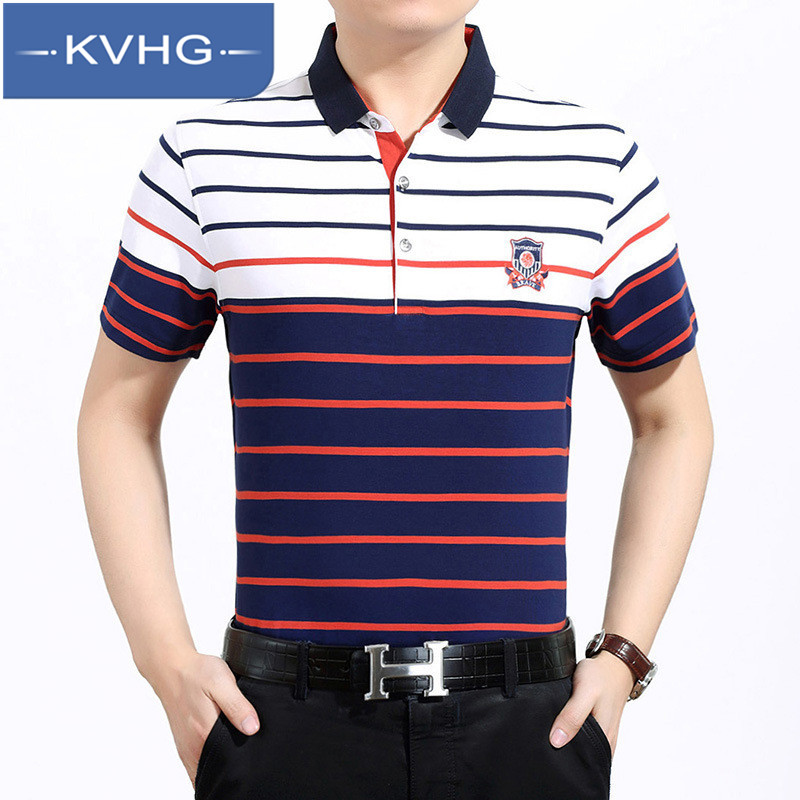 Korean version of the new fashion kvhg middle-aged men's lapel striped short sleeve t-shirt 2016 summer new wrinkle 4507