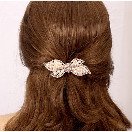 Korean version of the pearl diamond hairpin hairpin korean dish hairpin top folder cross clip spring clip ponytail clip hair accessories headdress peacock