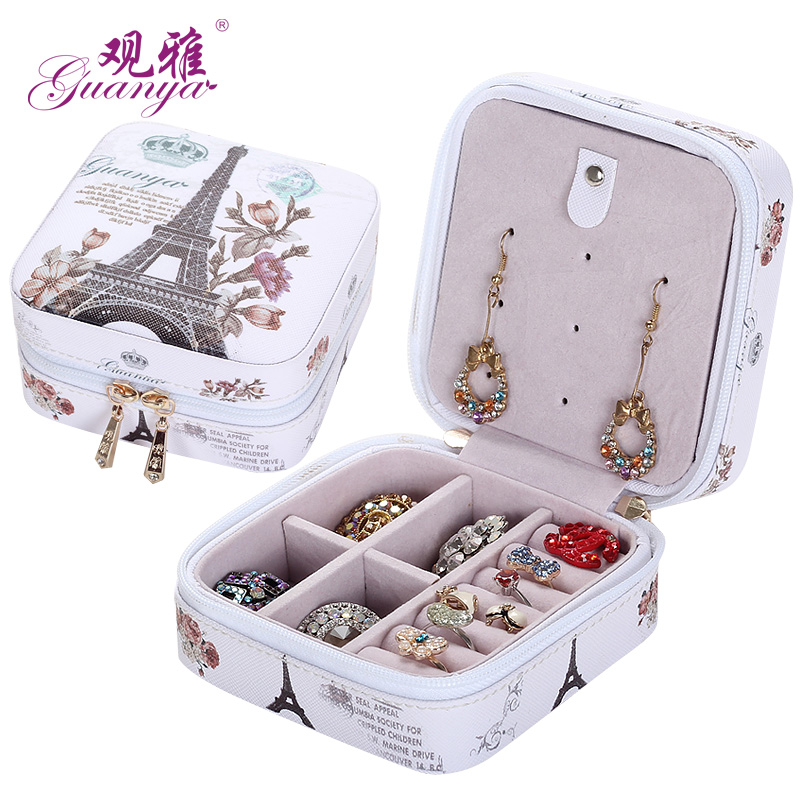 Korean version of the portable travel jewelry box earrings small jewelry bag jewelry box jewelry storage box 516-56
