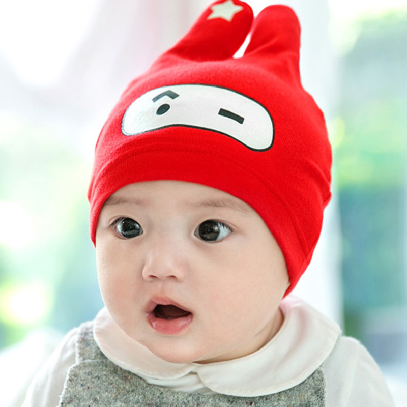 Korean version of the rabbit lot spring baby hats for men and women newborn baby hat baby hat sets of headgear