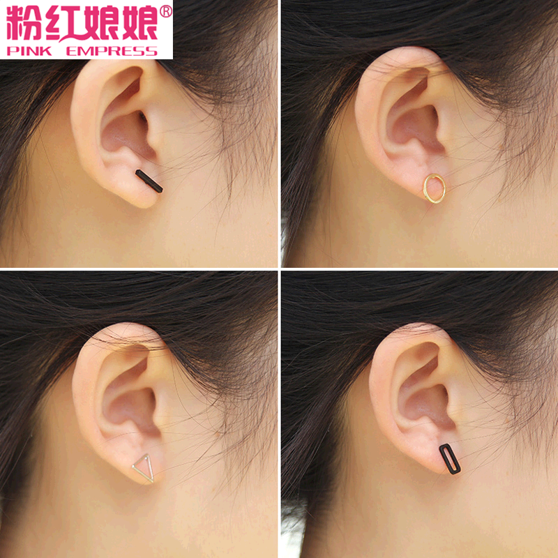 Korean version of the small jewelry square circular hollow squares geometric triangle earrings female temperament earrings earrings personality
