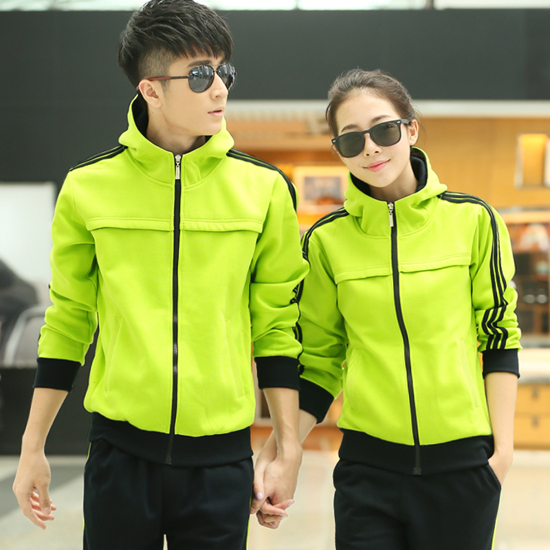 Korean version of the spring and autumn and winter influx of male lovers long sleeve shirt and trousers sports suit female models sportswear free shipping size code
