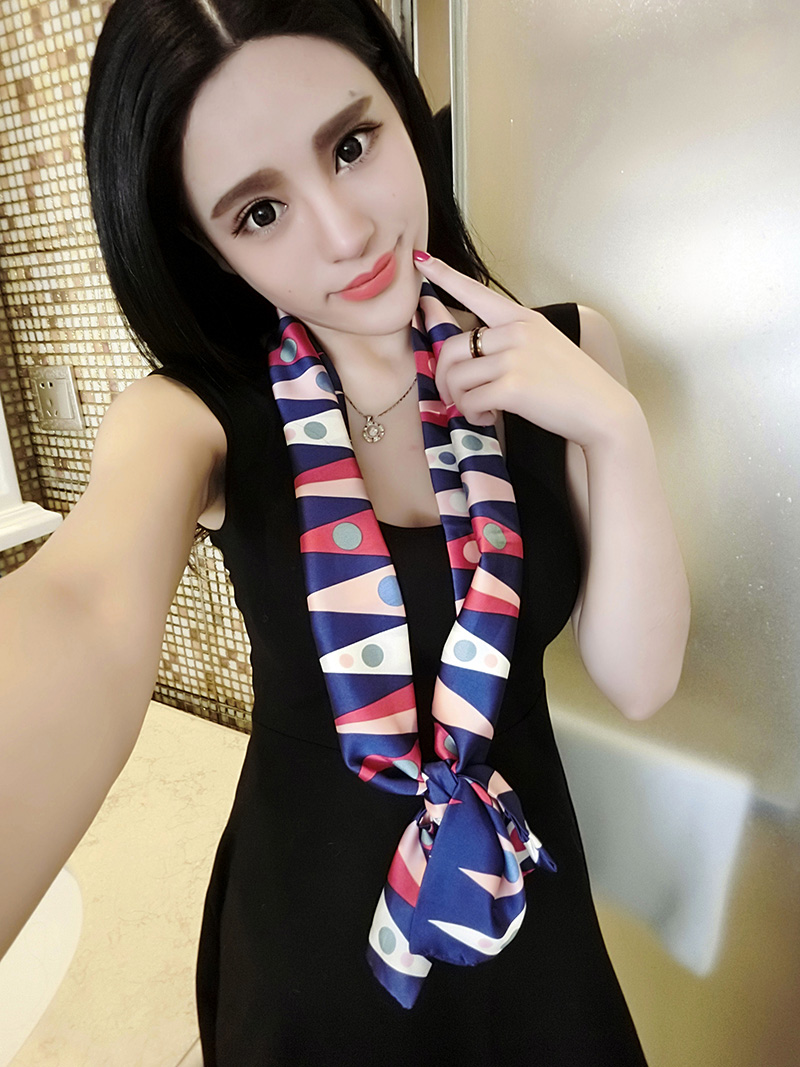 Korean version of the spring and autumn printed satin occupational small square scarves scarf scarf scarves wild temperament ladies fashion summer