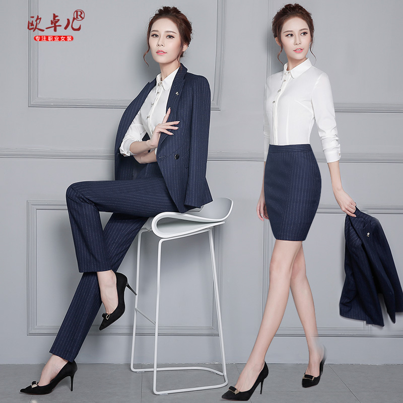 7a97d77d2c5 Buy Korean version of the spring and autumn wear dress pants suit navy blue  striped business suits overalls interview suits women suit in Cheap Price  on ...