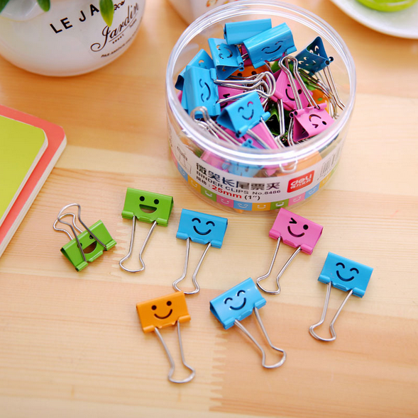 Korean version of the stamp stationery fresh and lovely small iron clamps metal binder clips paper clip file papers finishing clip clip