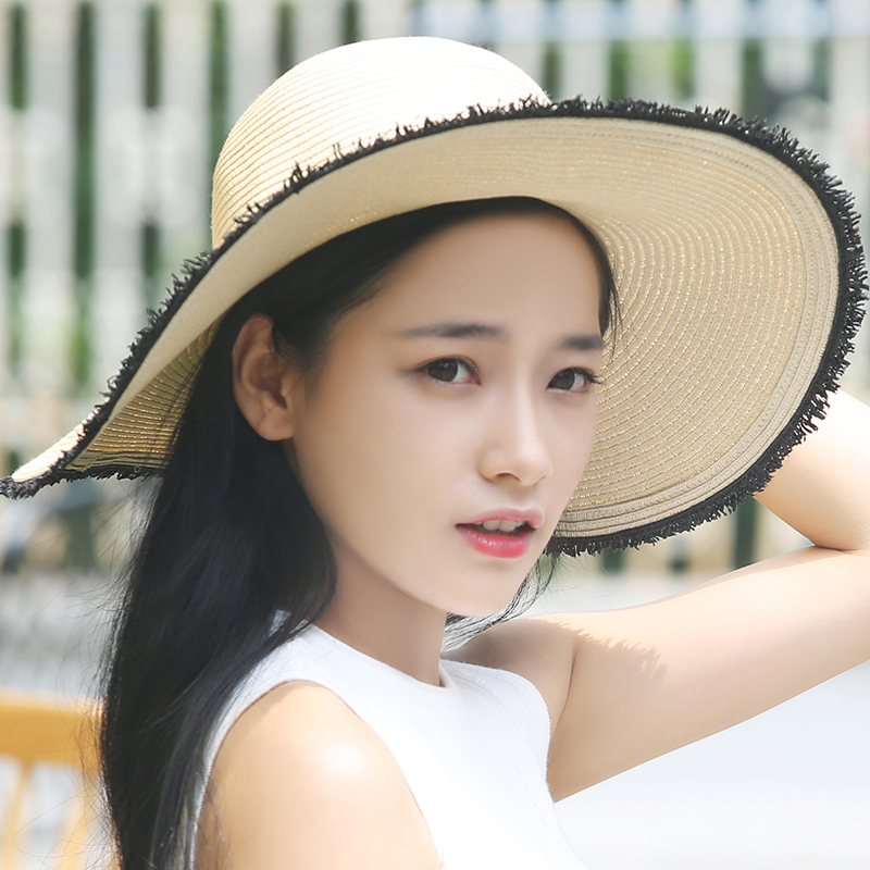 Korean version of the stitching grass rafi large brimmed hat bowler hat female summer sun hat flat along a sun hat travel cap sun hat beach hat