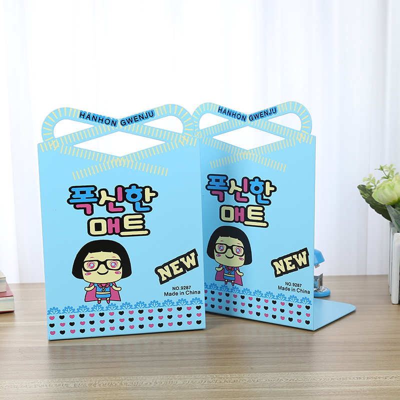 Korean version of the student tuba creative cute retro cartoon books bookend book by book stand 1 one pair price