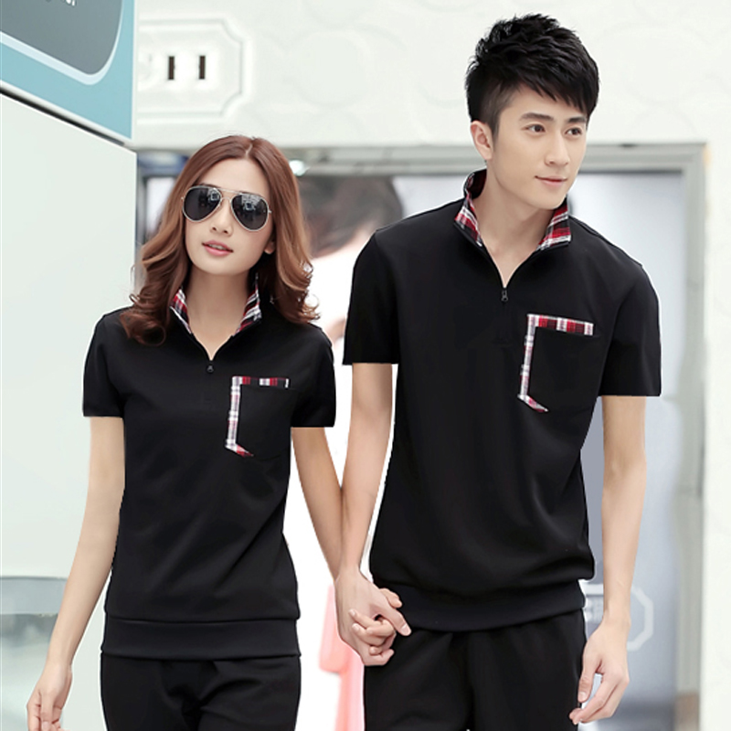 Korean version of the summer short sleeve sports men and women couple sweater collar hedging sweater casual shirt xl trumpet