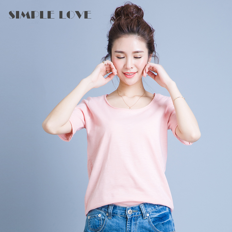 Korean version of the summer short sleeve t-shirt female summer solid bamboo cotton casual loose v-neck compassionate white cotton round neck t-shirt