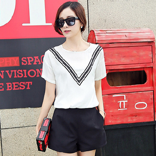 Korean version of the summer women korean fan cotton material short sleeve t-shirt shirt shirt casual shorts piece fitted jumpsuit YB-61