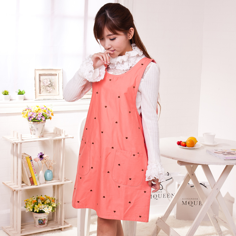 Korean version of the thick cotton overalls korean fashion cute aprons antifouling home kitchen home state female models overclothes