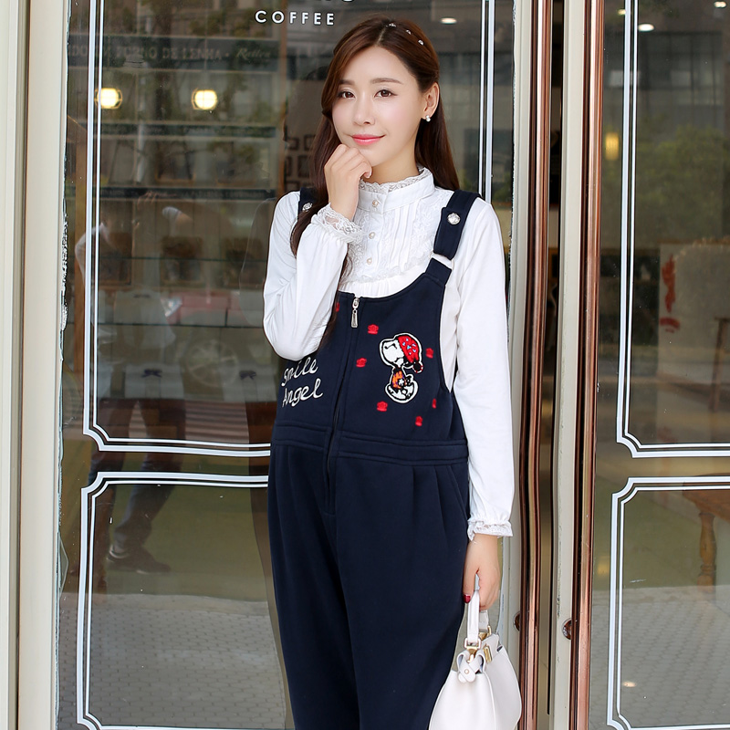 Korean version of the thick pregnant women pants trousers fall 2015 maternity fall and winter clothes plus velvet pregnant women pregnant women overalls loose big yards