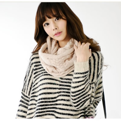 Korean version of the thick solid color scarf female winter autumn and winter warm wool knit scarf shawl collar hedging male tide