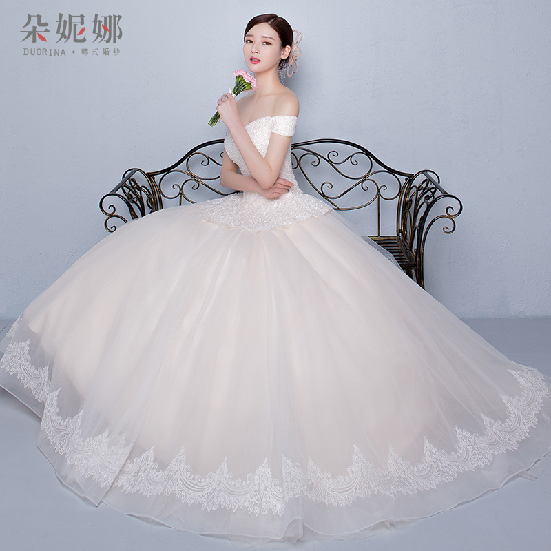 Korean wedding bride bra wedding dress 2016 summer new champagne wedding dress qi word shoulder wedding dress