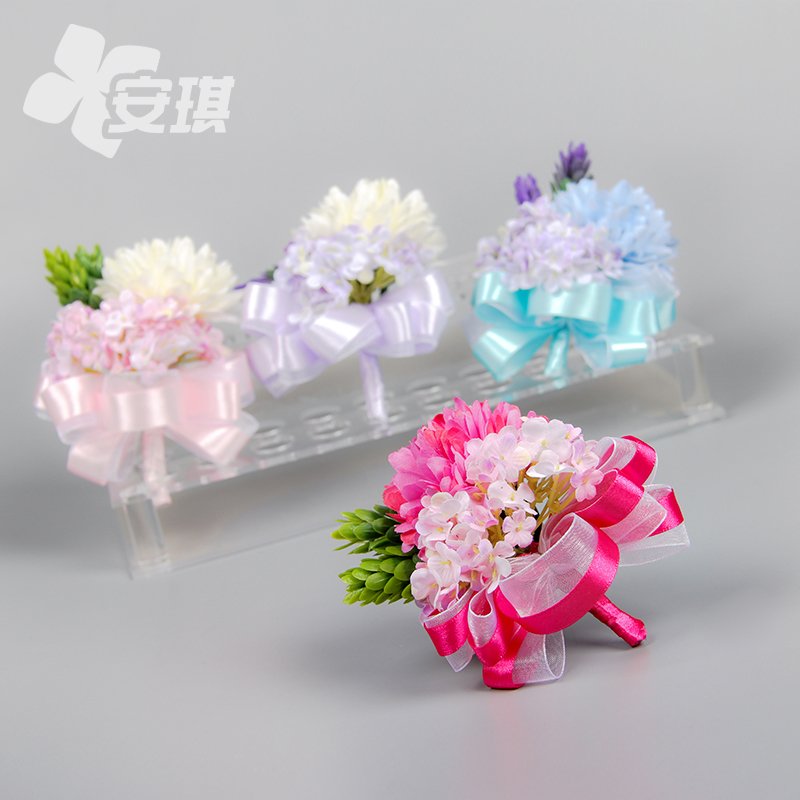 Korean wedding ceremony the bride and groom boutonniere corsage corsages girlfriends group chaired daisies series blue/pink/purple /Rose