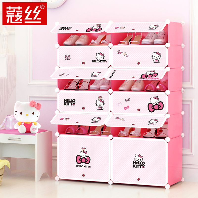 Kou silk simple modern children's storage cabinets multilayer plastic shoe rack shoe assembly card through the dust shoe cabinet