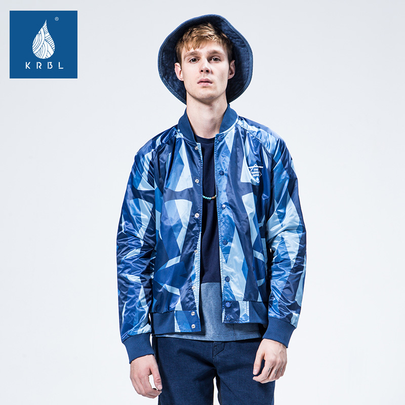 Krbl windproof function of koraku blue geometric pattern puckering original tide brand denim long coat l99