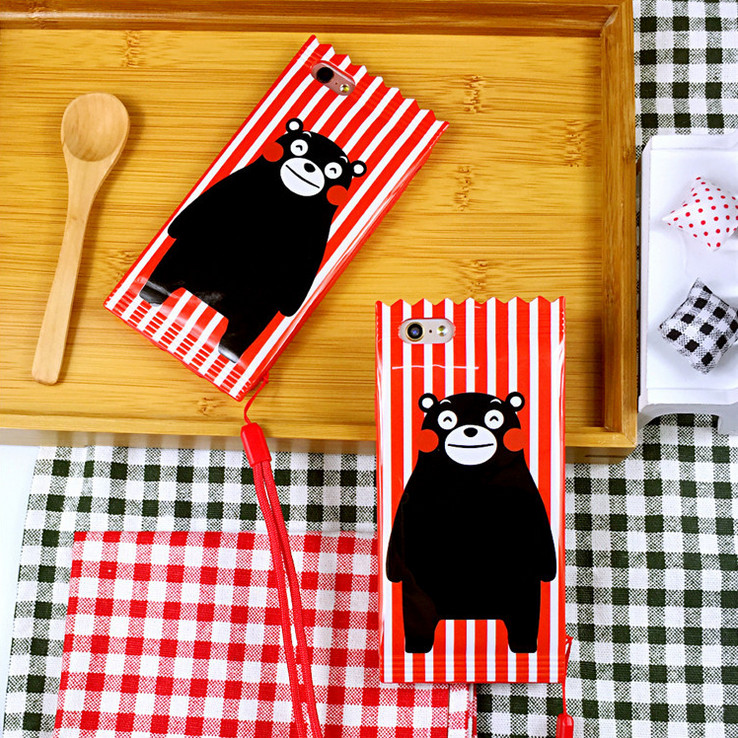 Kumamoto bear cartoon lanyard iphone6 phone shell mobile phone shell 5.5 inch 6splus japan and south korea creative silicone whole package protective sleeve