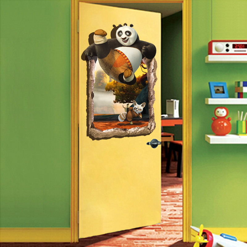 Kung fu panda 3d stereoscopic wall stickers wall stickers free shipping backdrop bedroom children's room decorative wall stickers can be removed