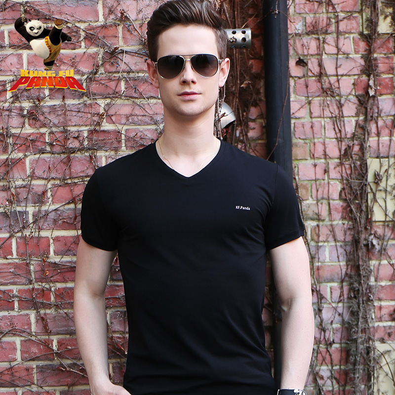 Kung fu panda ctnr mercerized cotton v-neck men's short sleeve t-shirt solid color undershirt summer sports and leisure repair body bottoming thin