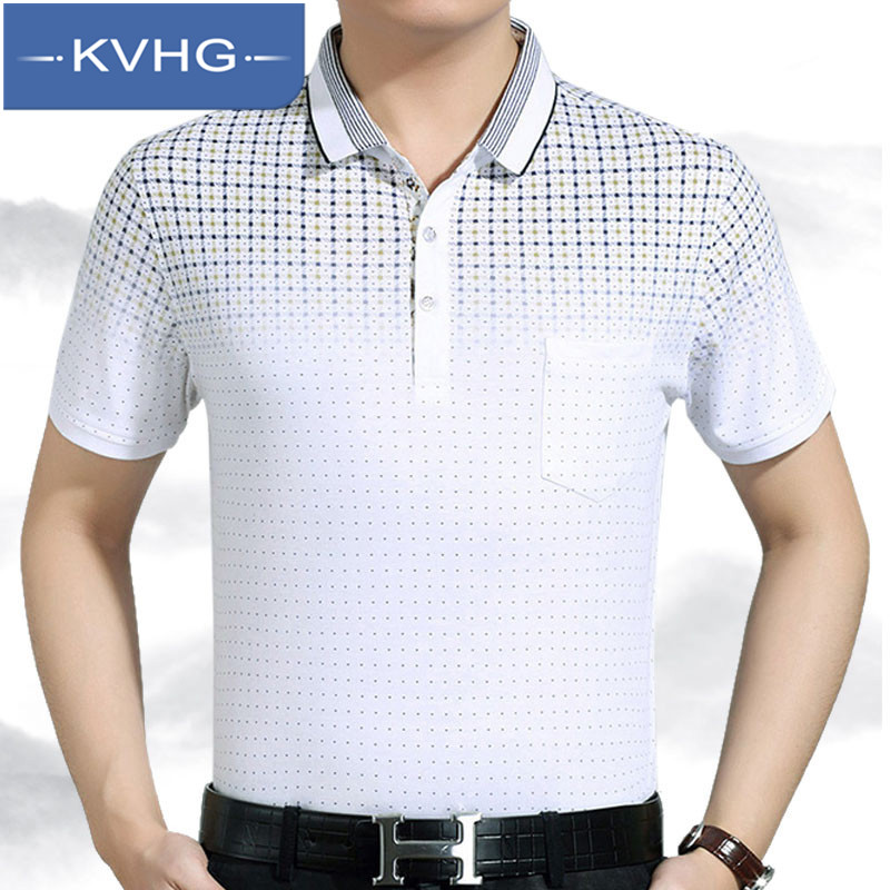 Kvhg 2016 summer new middle-aged father fitted short sleeve lapel business casual men's t-shirt shirt tide 6786