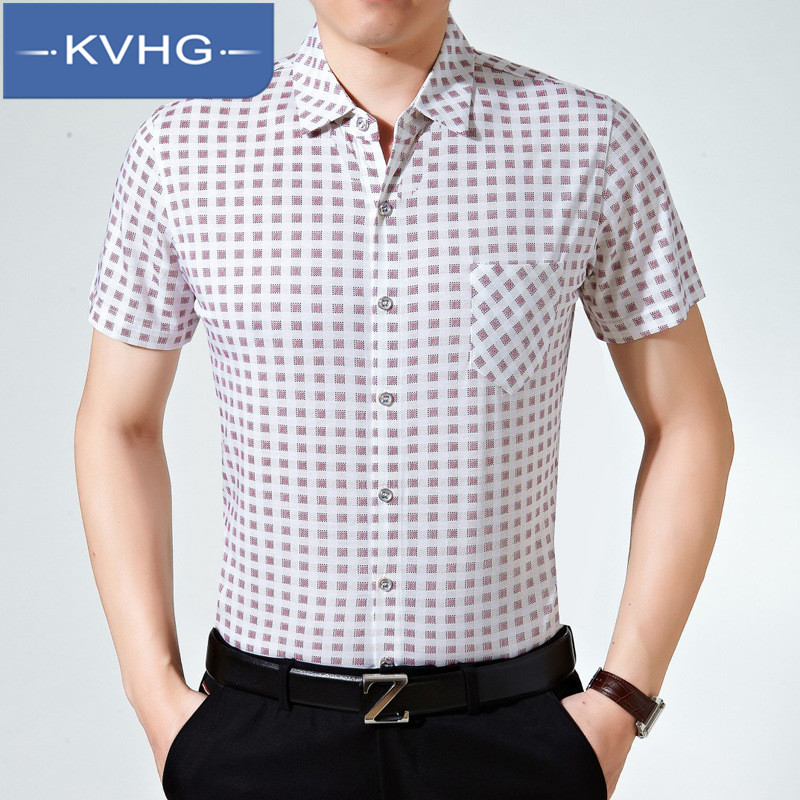 Kvhg business casual men's loose short sleeve shirt 2016 new stylish and comfortable in the years wild shirt 6720