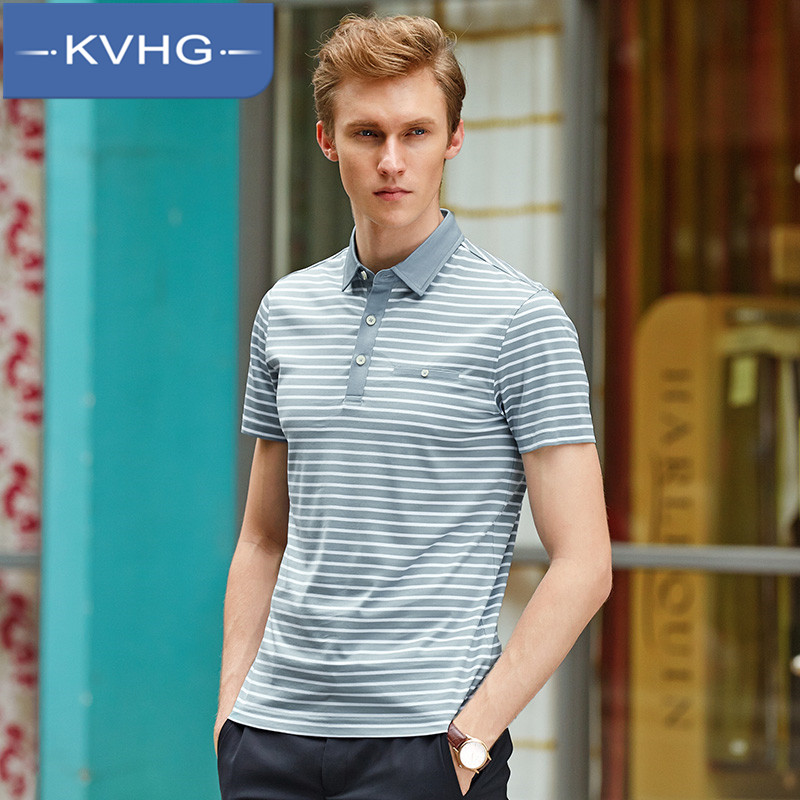 Kvhg dad installed business casual men's fashion 2016 new classic striped lapel short sleeve t-shirt 0536