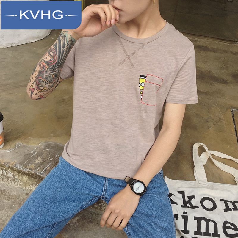Kvhg embroidered round neck bottoming shirt iron men's casual shirt 2016 new men's short sleeve small fresh 3169