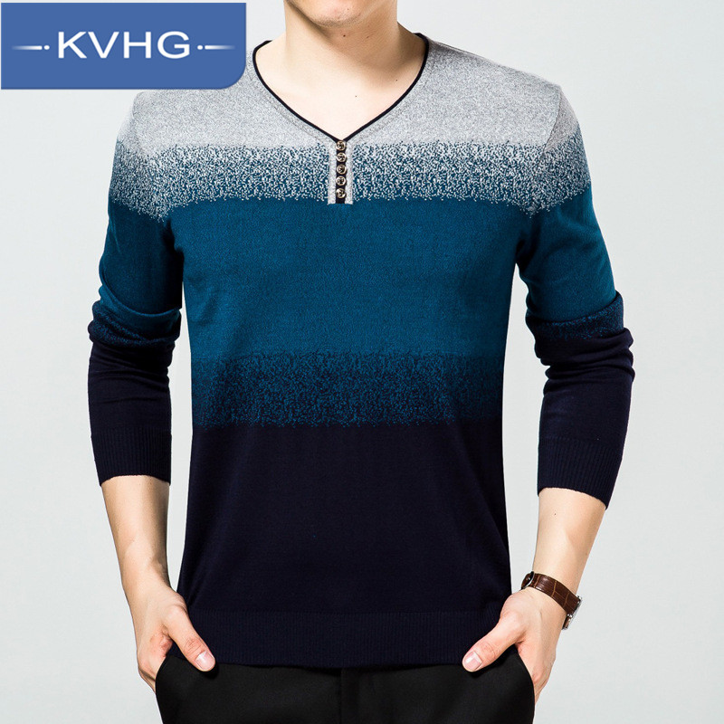 Kvhg fall and winter clothes casual clothing line v-neck sweater hedging korean version of the middle-aged men's sweater 2016 new 0467