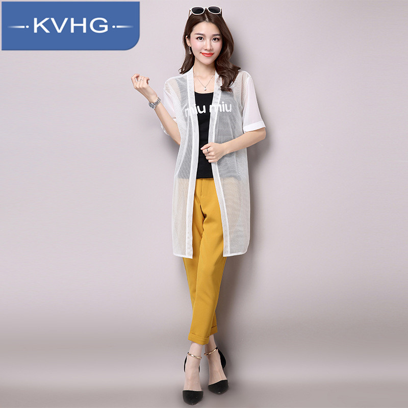 Kvhg fashion thin section perspective sun protection clothing 2016 summer new loose and comfortable short sleeve solid color lace shirt 8805