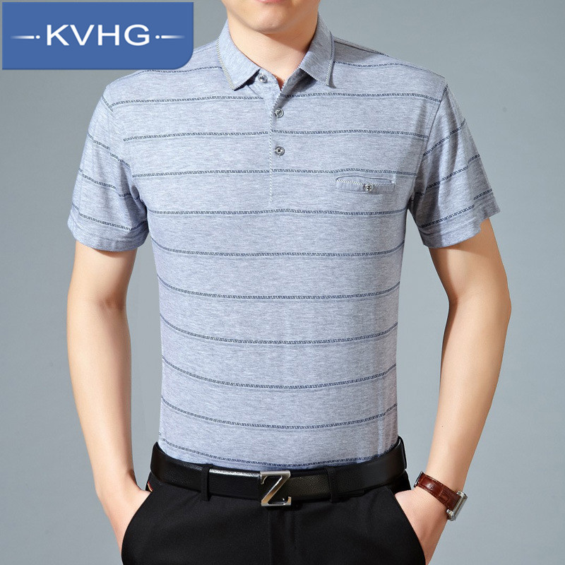 Kvhg iron casual striped polo shirt lapel middle-aged father loaded wild loose and comfortable t-shirt tide 1891