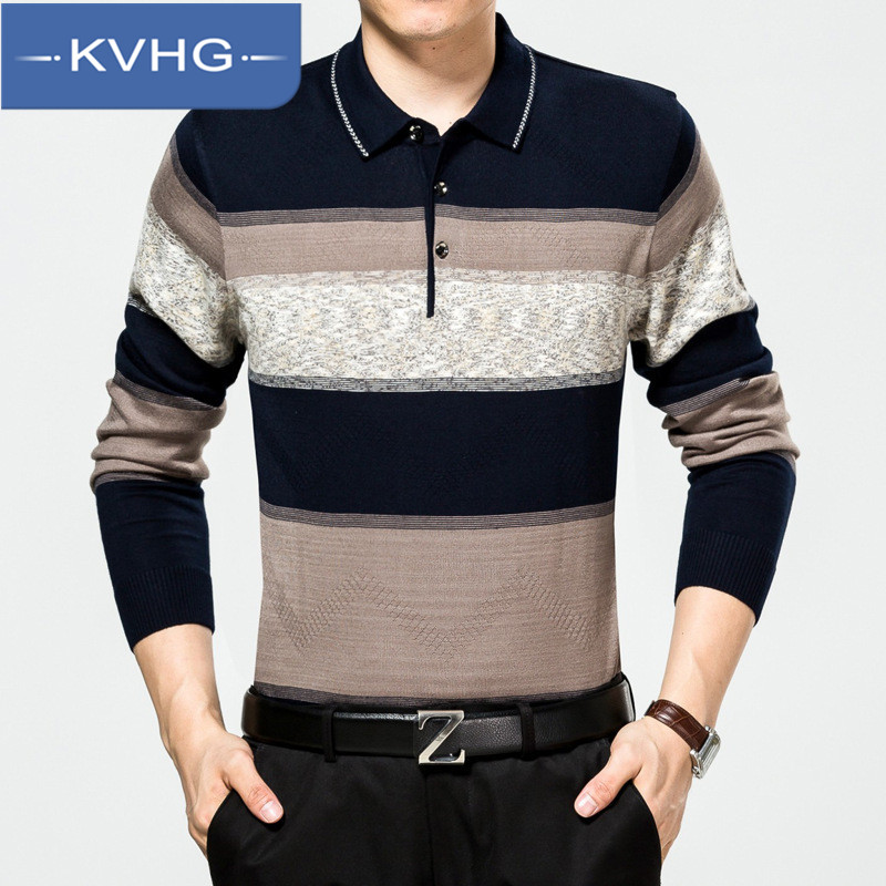 Kvhg lapel middle-aged men sweater hedging sweater korean version of the 2016 autumn spell color casual men's fashion 4212