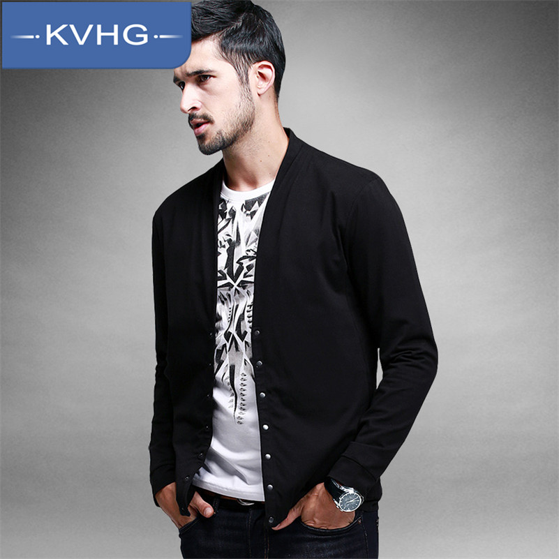 Kvhg new european and american minimalist casual slim v-neck t-shirt iron men's long sleeve youth t-shirt tide wild 1109