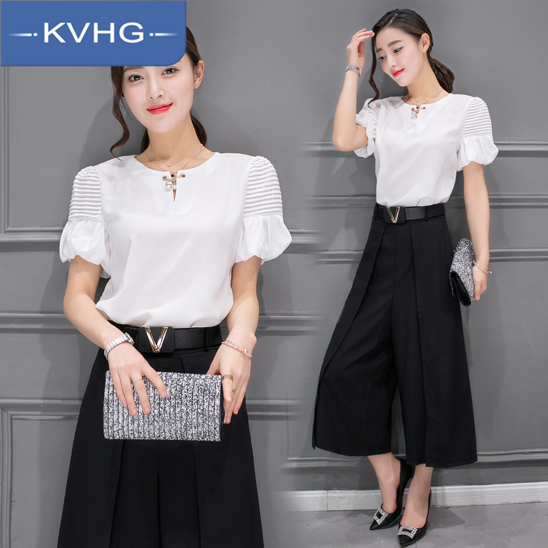 Kvhg new paragraph 2016 suit summer fashion simple solid color short sleeve shirt with seven wide leg pants tide 2144