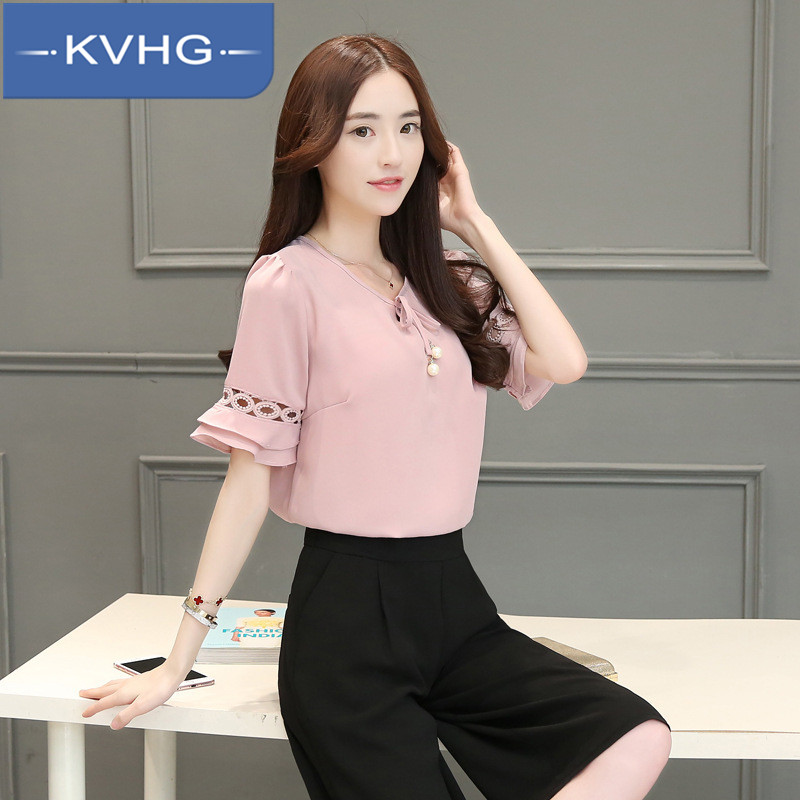 Kvhg simple solid color of the new 2016 summer fashion wild slim was thin horn sleeve shirt chiffon shirt 2637