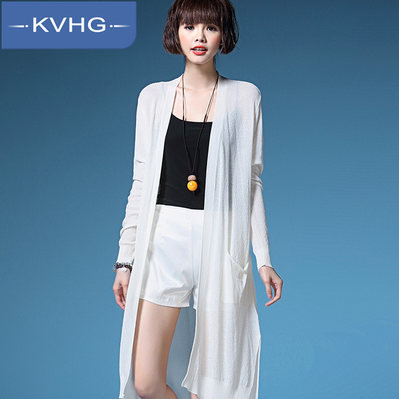 Kvhg summer fashion long section of the women's 2016 new european style solid color knit cardigan thin section through the gas 7533
