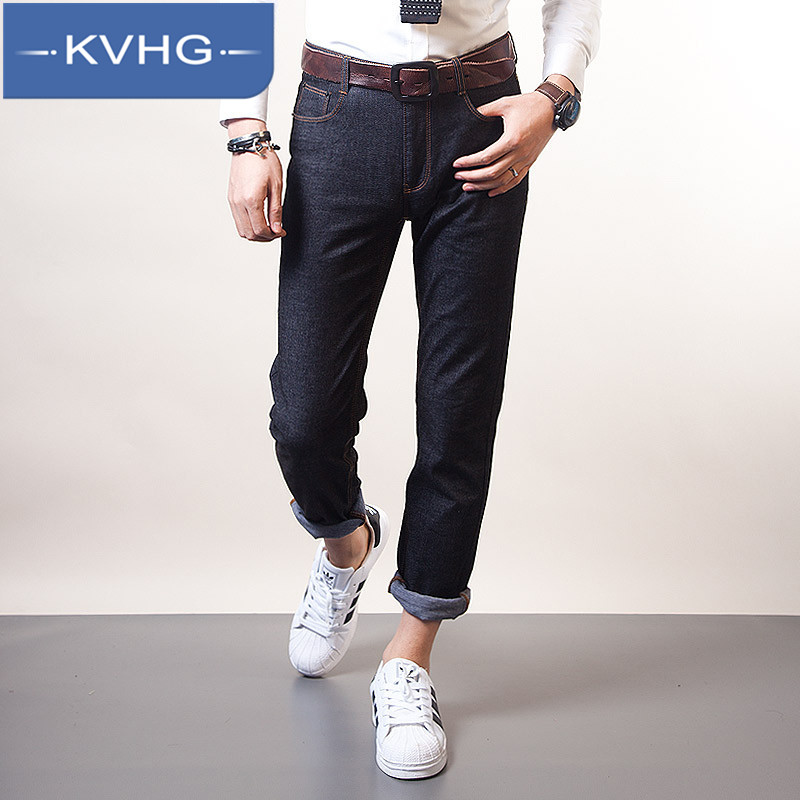 Kvhg tide wild fashion simple denim trousers men washed jeans thin section 2016 comfortable pants wild male 4486