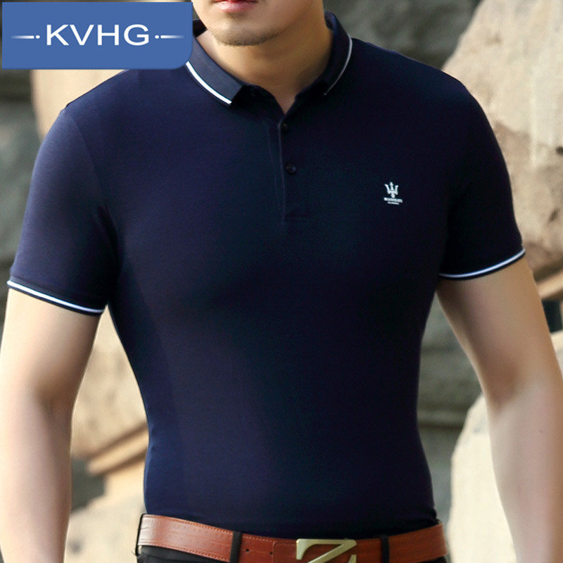 KVHG2016 business casual wild summer new men's short sleeve t-shirt slim influx of middle-aged iron 0798