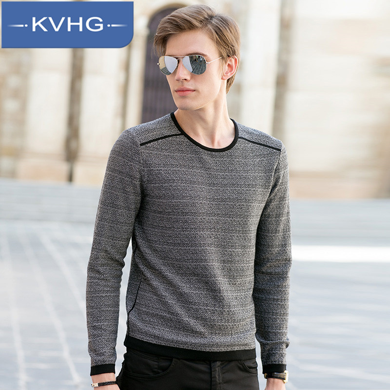 KVHG2016 commuters simple and stylish new korean men's warm sweater round neck sweater hedging 0367