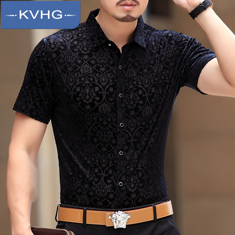 KVHG2016 iron men's casual men's summer fashion thin section breathable loose short sleeve square collar shirt 4913