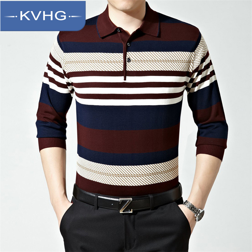 KVHG2016 new men middle-aged men long sleeve t-shirt shirt spring thin section of middle-aged sweater men tide 1 015