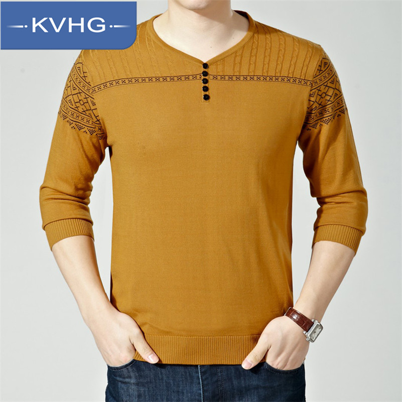 KVHG2016 new spring middle-aged men thin section v-neck knit long sleeve t-shirt bottoming shirt xl fashion 2301