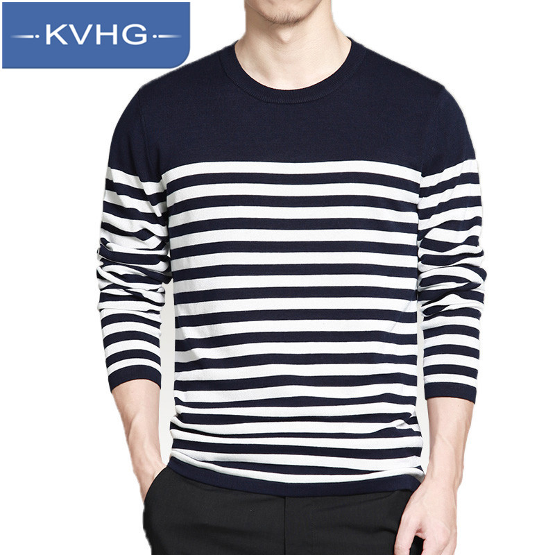 KVHG2016 new sweater men's sweater striped sweater hedging youth round neck long sleeve sweater tide 5351