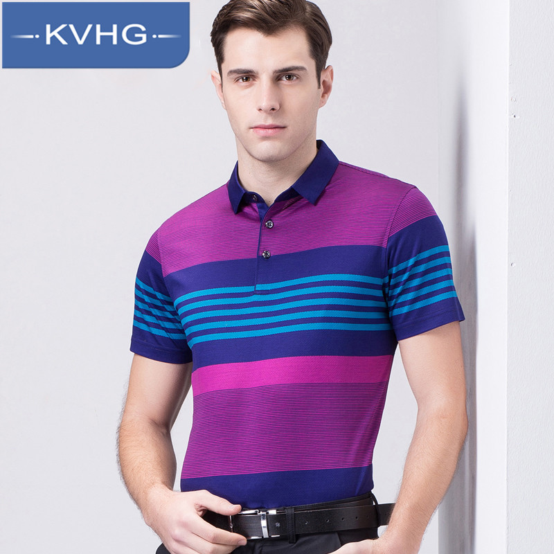 KVHG2016 summer new middle-aged men short sleeve t-shirt fashion lapel striped men's business casual 4922