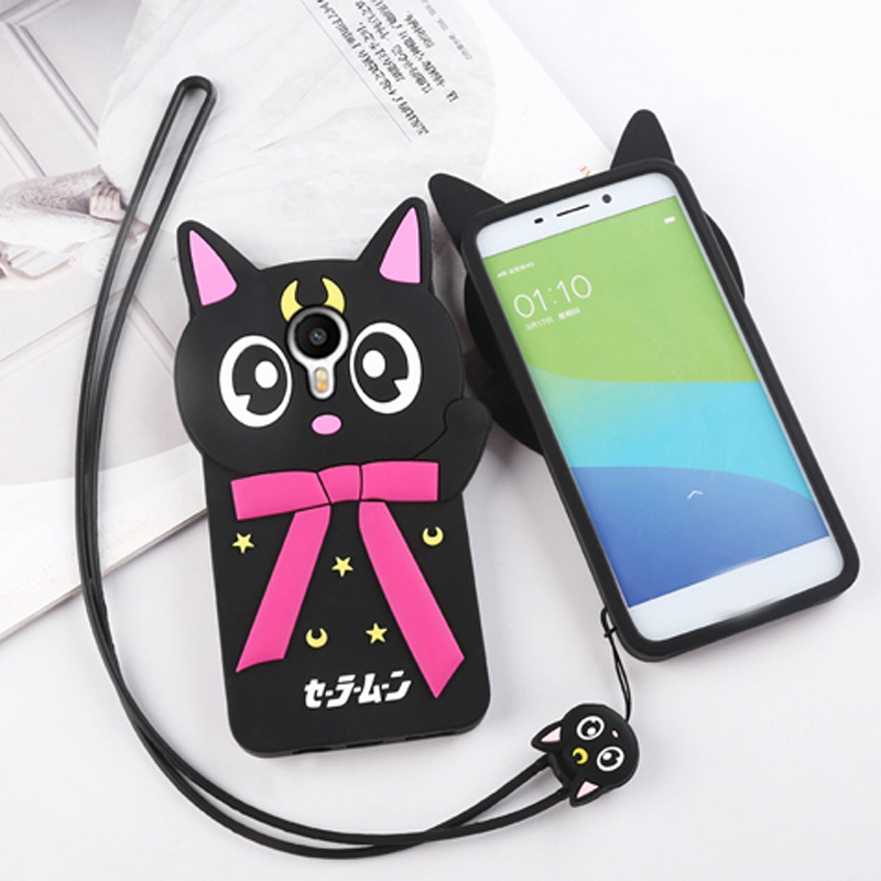 Kyushu cathaysian luna cat charm blue metal phone shell protective sleeve soft silicone lanyard mobile phone sets charm charm blue matel