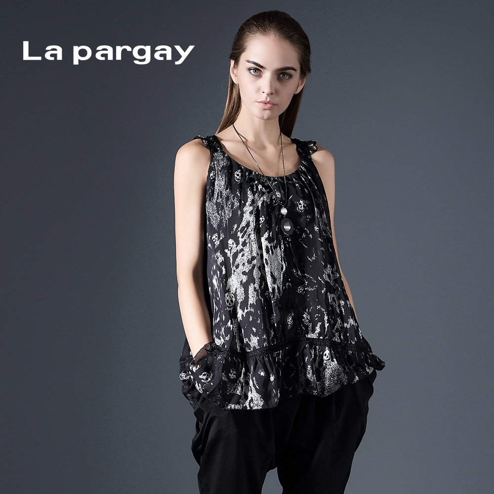 La pargay2016 L392175C summer new type a skull and crossbones printed silk blouse